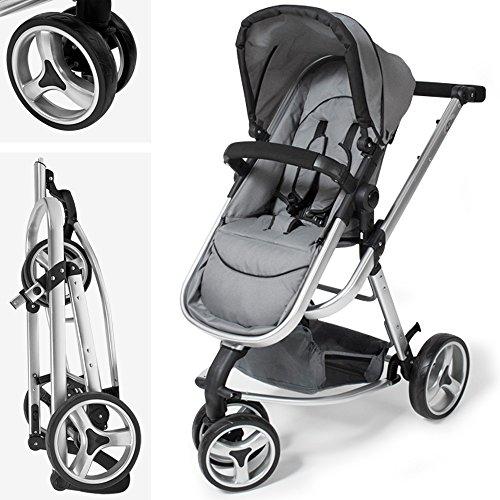 TecTake 3 in 1 Kinderwagen Kombikinderwagen Buggy Babyjogger Reisebuggy Sportwagen Kids -diverse Farben- (Grau) -