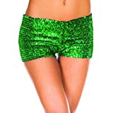 Pailletten Shorts Luckycat Sommerhosen Damen Kurz Mode Frauen Hohe Taille Yoga Shiny Sport Hosen Shorts Metallic Hosen Leggings Shorts Hose Sommerhosen Pants Hosen (Grün, Small)
