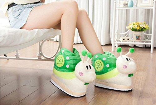 YARBAR Escargot mignon Chaussons Automne et Hiver en coton épais Chaussons anti-dérapant Accueil Voyage Chaussures Chaussons Vert