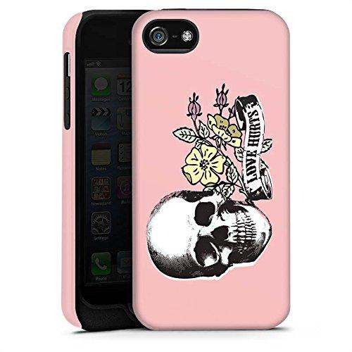 Apple iPhone X Silikon Hülle Case Schutzhülle Skull Love Hurts Flower Tough Case matt