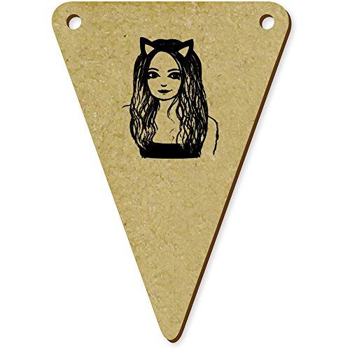 Bunting Kostüm Katze - Azeeda 5 x 70mm 'Mädchen mit Katze Kostüm' Wimpel / Banner aus Holz (BN00015209)