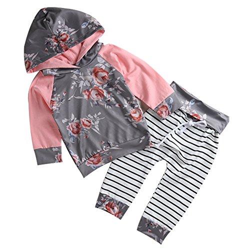 Chicolife Baby Girl Full Flower Bedruckte Kapuzenpulli Hose Kapuzenjacke mit Blumentasche Sweatshirt Outfit Kleidung Pink (Hooded-sweatshirts Wieder)