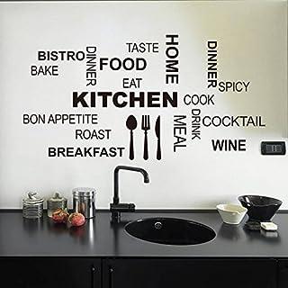 Asenart - Autocollants muraux amovibles PVC en vinyle, citations pour décor de cuisine, Taille 30,5 x 58,4cm