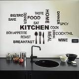 asenart Cuisine Lettre Citation Stickers muraux PVC amovible en vinyle Home Decor Taille 30,5x 58,4cm