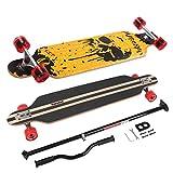 Longboard Skateboard MARONAD drop through Race Cruiser ABEC-11 Skateboard 104x24 cm Streetsurfer patinar FUN, Modell Streetsurfer - Dripping Skull + MARONAD STICK