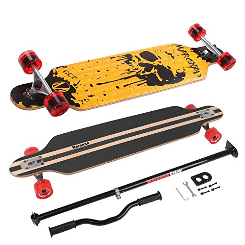 Longboard Skateboard MARONAD drop through Race Cruiser ABEC-11 Skateboard 104x24 cm Streetsurfer patinar FUN, Modell Streetsurfer - Dripping Skull + MARONAD STICK