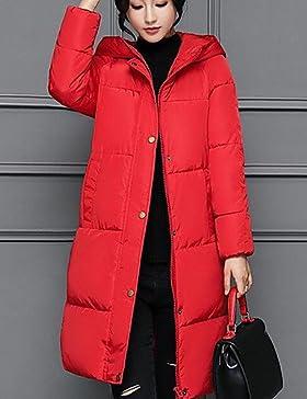 TT & ShangYi largo edredón de mujer manga larga, abrigo casual simple liso poliéster polipropileno, Red, M
