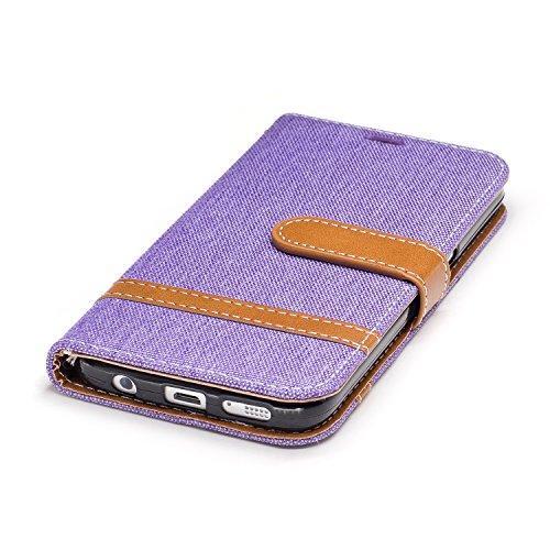 Samsung Galaxy S7 Funda con Tapa - TOCASO tipo libro Piel PU Case Cover Carcasa Con Retro Flor Ultrafina Piel Premiumcon Cierre Magnético Plegable cartera con Tapa Fina Piel Vegana Premium Color sólido para Samsung Galaxy S7 - Con Cierre Magnético Ranuras para Tarjetas y Billetera Color sólido--Vaquero Púrpura