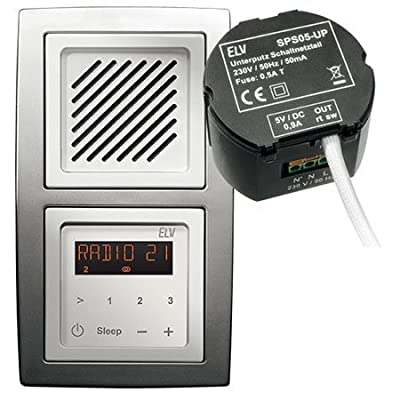 Mini Stereo RDS-Radiomodul Unterputz RDS100UP, Komplettbausatz inkl. 5V-Schaltnetzteil SPS05UP, Bausatz