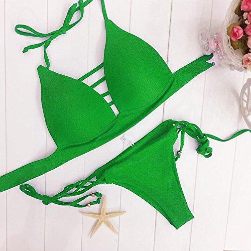 Rawdah Il bikini sexy delle donne mette in mostra il costume da bagno dello swimwear del reggiseno del push Verde