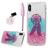 #3: iPhone X Case, Painted Shiny Glitter Powder Clear Gel Cover Ultra Thin Slim Silicone TPU Bumper Shockproof Protective Skin Cover with Dust Plug & Pen by YOKIRIN for Girl Women, Dream Catcher