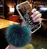 Funda para Moto Z Play,Fluffy Pom-Pom Bola Peludo Pelo Perla Diamante Rhinestone Mano Cadena Titular Pulsera Brillante Reflejo Espejo Caso para Motorola Moto Z Play