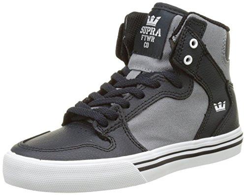 Supra Kids Vaider, Baskets Basses Mixte Enfant Gris (Dk. Grey/Grey-White)