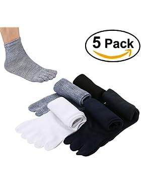 Pixnor® 5 Paar Unisex Zehensocken Elastische Casual 5-toe Socken Kurze Socken