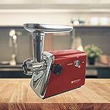 FRX Elektrischer Fleischwolf Rot 500 Watt Fleisch Wolf elektrisch Meat grinder Hack Wurstmaschine Mehrzweck-Reibe mit Edelstahl-Klingen (Rot)