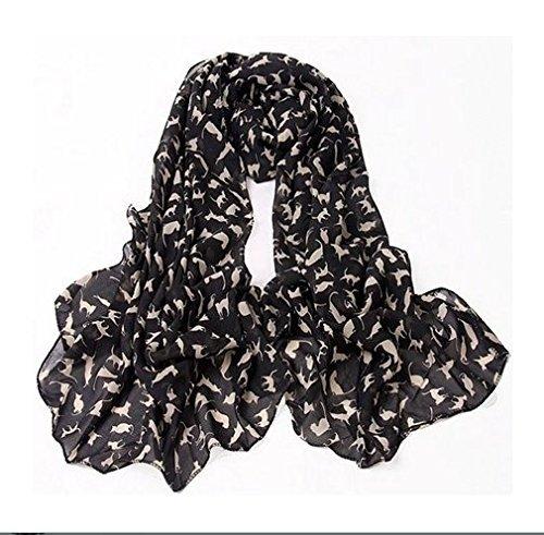 cofco Print Katzen Muster Chiffon Schal Langer Schal Fashion Schals für Frauen
