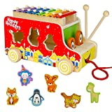 XilófonoInfantil con Autobús Bus y Puzzle Madera Colorido Juguetes MusicalesBebe de Madera Juguete Educativo para Niños