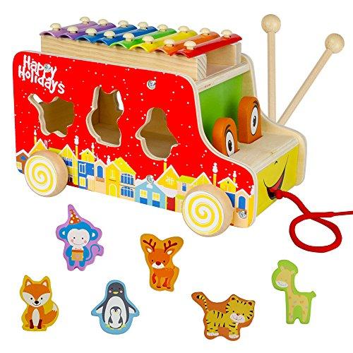 Bus und Holz Tiere mit Xylophone Nachziehspielzeug Weihnachtsgeschenke für Kinder
