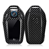 kwmobile Autoschlüssel Hülle für BMW - Hardcover Schutzhülle Schlüsselhülle für BMW Display Key Autoschlüssel Carbon Design Schwarz