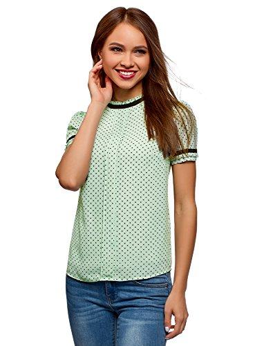 oodji Ultra Damen Bluse aus Fließendem Stoff mit Kontrastbesatz, Grün, DE 38 / EU 40 / M