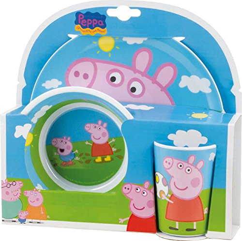 Image of Joy Toy 748690 Peppa Pig 2 Melamine Plates and Cup Set in Gift Wrap