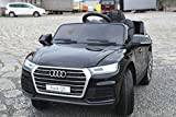 Audi Q5 Modell 2018 / Elektro Kinderauto / Ledersitz mit Roter Naht / Vollgummi Reifen / 2,4Ghz Bluetooth FB / Vollausstattung / Elektro Kinder Auto / Metallic Schwarz