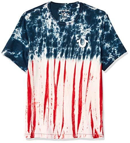 True Religion Herren Americana TIE DYE SS Puff Tee T-Shirt, Blue/Red, Groß -
