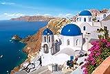 Puzzle 1500 Teile - Santorin - Griechenland - Insel Urlaub / Traumurlaub - Dorf Foto Landschaft - griechisches Haus blau weiß