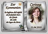 Tortenaufleger Fototorte Tortenbild zur Kommunion Buchform DIN A5 K34