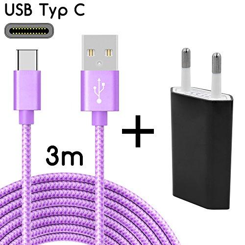TheSmartGuard USB-C Ladegerät / 2in1 Ladeset / USB-Typ-C Ladekabel mit Netzteil / Netzstecker für S9, S9+, S8, A8, A8+, Note 8, Sony XZ, XA1, XZ1, HTC 10, U11, Huawei P10 und viele mehr | Nylon | Lila | 3 Meter / 3m (Usb-hub-lila)