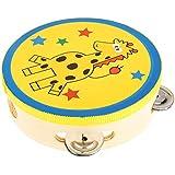 Tambourin Enfant En Bois Cloche Instruments de Percussion à Main - Jaune