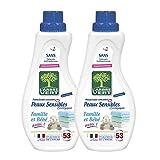 L'arbre vert Adoucissant Linge Peaux Sensibles Famille/Bébé Aussi 53 Lavages 800 ml - Lot de 2