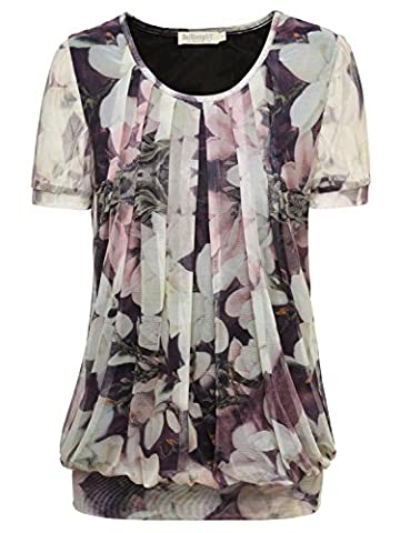 BAISHENGGT Women's Ruched Front Mesh Casual Short Sleeve Stretchy Tunic Tops T-shirt Apricot Floral