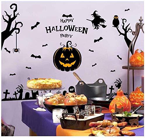 ELGDX Halloween Wandaufkleber Spuk Geisterhaus Zauberer Hexe Kürbis Kopf Fenster Glas Hintergrund Aufkleber