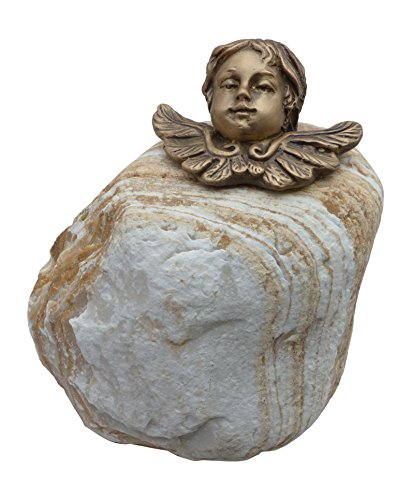 Patric Rottenecker Bronzefigur, Engelkopf aus Bronze auf Flusskiesel montiert, bronzefarben, 11 x 14 x 18 cm, 3606