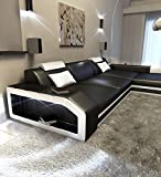 Sofa Dreams Ledersofa Prato L Form Schwarz-Weiss