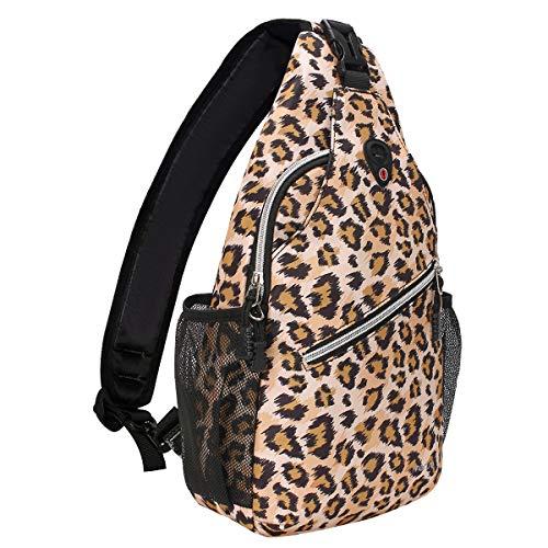 MOSISO Seil Brusttasche Sling Rucksack Schultertasche (Bis zu 13 Zoll), Polyester Crossbody Umhängetasche Reise Wandern Daypack für Männer Frauen Mädchen Jungen, Leopard Drucken -