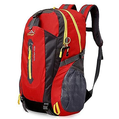 40L Leichte Wanderrucksack, Natuce Multifunktionale Wasserdicht Casual Camping Tagesrucksack für Outdoor-Sport Klettern Bergsteiger 52 X 33 X 16 cm - Rote