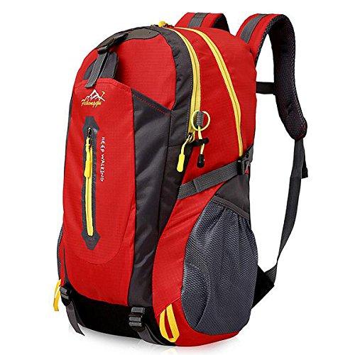 40L Leichte Wanderrucksack, Natuce Multifunktionale Wasserdicht Casual Camping Tagesrucksack für Outdoor-Sport Klettern Bergsteiger 52 X 33 X 16 cm - Rote (Rote Pumpe Erwachsene Schuhe)