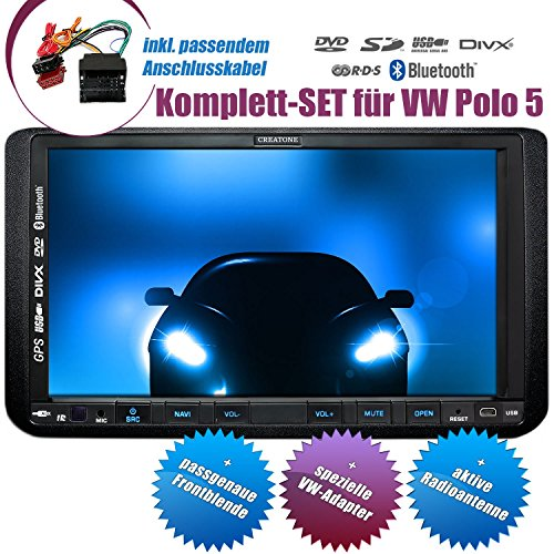 2DIN Autoradio CREATONE CTN-9268D56 für VW Polo 5 (6R) (2009-2014) mit GPS Navigation, Bluetooth, Touchscreen, DVD-Player und USB/SD-Funktion