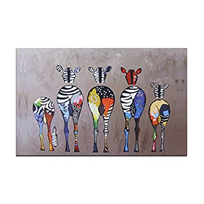 Modern Canvas Painting 50*70CM Color Zebras Pattern Oil Painting Abstract Modern Art on Canvas Wall Decor - inexpensive UK light store.