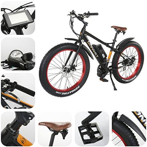 Elektrofahrrad E-Mountainbike 26 Zoll 7-Gang All Terrain Fett Reifen E-Bike, 750W Mächtig Motor, 48V 11.6Ah Lithium-Akku, 9 Unterstützungsstufen, LCD Modus Anzeige