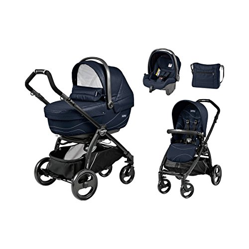 PEG-PÉREGO Book Plus XL Kombikinderwagen Trio-Set mit Wickeltasche Design 2017 Baby, Bloom navy, Gestell schwarz