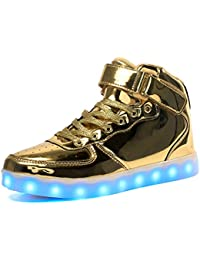 ByBetty Unisex Manner Frauen High Top USB Ladegerat LED Lights 7 Farben Sneakers Couples Schuhe
