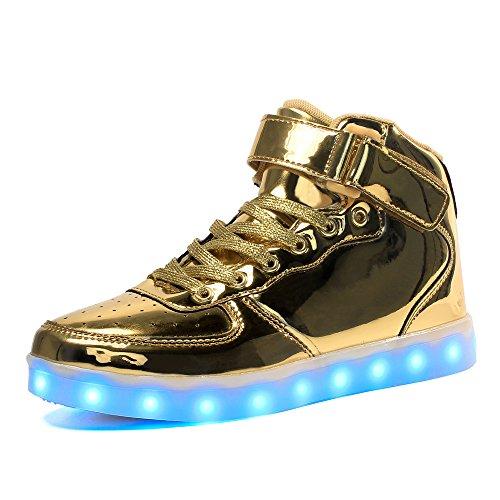 Maniamixx Kinder LED Leuchten Blinkende Schuhe für Mädchen und Jungen High-Top Wiederaufladbare Turnschuhe mit USB-Kabel(Gold,38)
