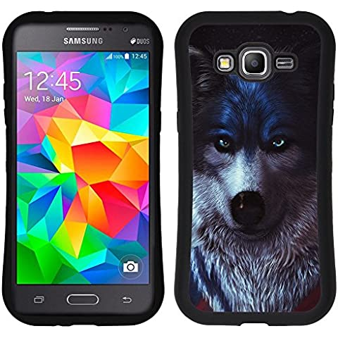SAMSUNG GALAXY GRAND PRIME Hybrid Case Handyhülle - Beautiful Black White Wolf Pup