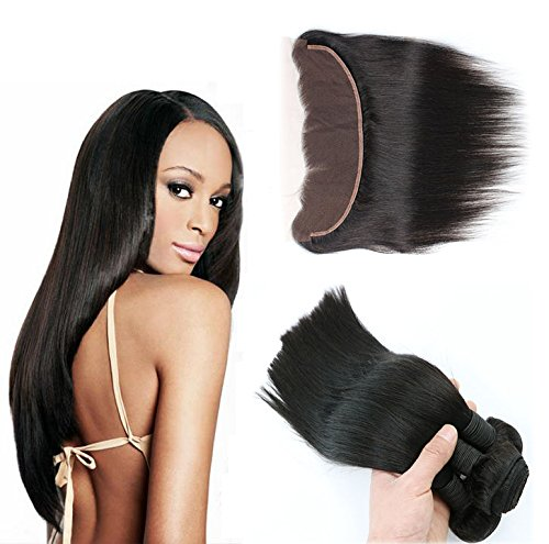 Vario hair brazilian Straight Virgin Hair 3 Bundles Weft with 13x4 Ear to Ear Free Part Lace Frontal Closure Bleached Knots with Baby Hair Silky Straight Weave Natural Color (22 22 22 with 16? -