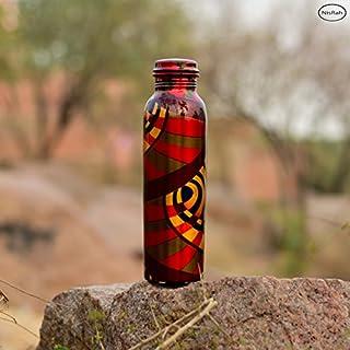 Nisrah Wasserflasche aus reinem Kupfer, 1000 ml, auslaufsicher für Kicthen auf Reisen, Yoga, Ayurveda Heilung, Gesundheit