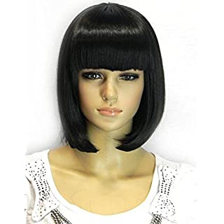 Kalyss Women's Bob Short wig Black Color Heat Resist Cospaly party Hair Wig