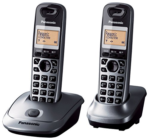 Panasonic KX-TG2512SPM - Kit de 2 teléfonos fijos digitales inalámbricos (identificador de llamada, 50 contactos), gris